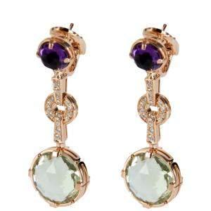 Bvlgari Parentesi Diamond, Amethyst Quartz 18K Rose Gold Earrings