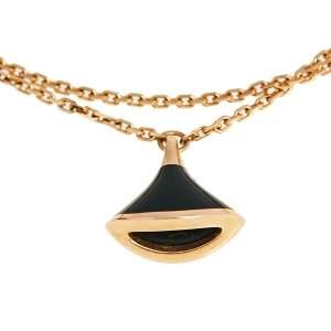 Bvlgari Divas' Dream Onyx 18k Rose Gold Charm Bracelet M/L
