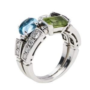 Bvlgari Allegra Multicolored Gemstone Diamond 18K White Gold Cocktail Ring 53