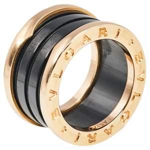 Bvlgari B.Zero1 Black Ceramic 18K Rose Gold 4- Band Ring Size 49