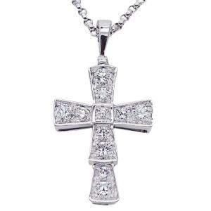 Bvlgari Serpenti Cross 18K White Gold Diamond Necklace