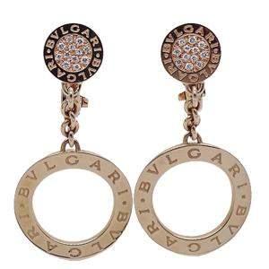 Bvlgari Circle Drop 18K Rose Gold Diamond Earrings