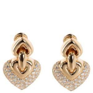 Bvlgari Doppio Cuore 18K Yellow Gold Diamond Earring