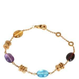 Bvlgari Allegra 18K Yellow Gold Sapphire Multi Colored Bracelet 21