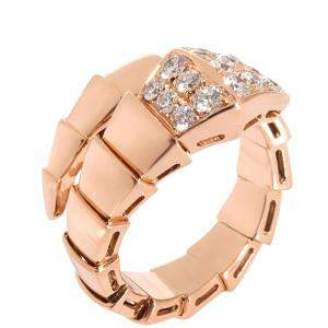 Bvlgari Serpenti Viper 18K Rose Gold Diamond Ring EU 54.5