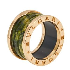 Bvlgari B.Zero1 Green Marble 18K Rose Gold 4-Band Ring Size 52