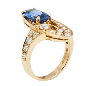 Bvlgari Elisia Sapphire and Diamond 18K Yellow Gold Ring Size 51