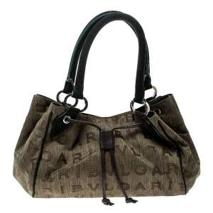 Bvlgari Multicolor Fabric and Suede Signature Tote