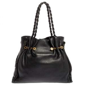 Bvlgari Black Leather Twistino Tina Shopper Tote