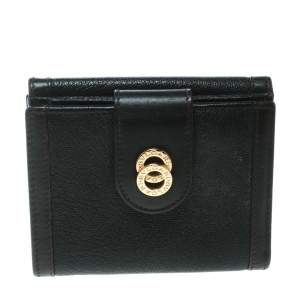 Bvlgari Dark Brown Leather Compact Flap Wallet