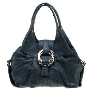 Bvlgari Blue Ostrich Chandra Hobo