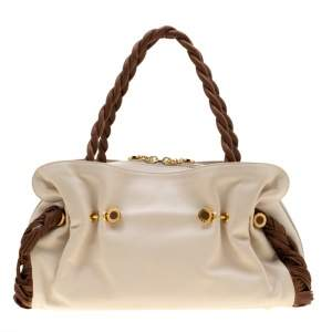 Bvlgari Cream/Tan Leather Twistino Tina Satchel