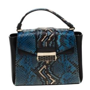 Bvlgari Blue Python Leather Serpenti Viper Top Handle Bag