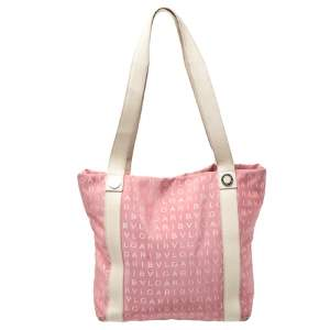 Bvlgari Pink/Beige Logo Mania Canvas and Leather Tote