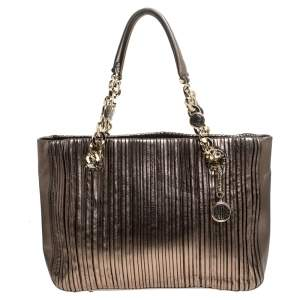 Bvlgari Gunmetal Plisse Leather Monte Shopper Tote