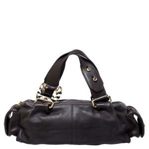 Bvlgari Dark Brown Leather Leoni Satchel