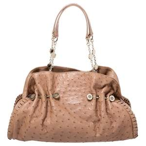 Bvlgari Tan Ostrich Leather Twistino Tina Satchel