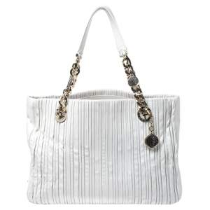 Bvlgari White Leather Monte Plisse Shopping Tote