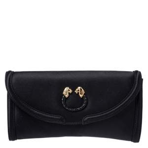 Bvlgari Black Satin Leoni Flap Clutch