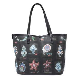 Bvlgari Black Printed Canvas Tote