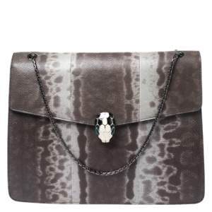 Bvlgari Grey Karung Large Serpenti Forever Shoulder Bag