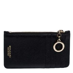 Bvlgari Black Leather Zip Credit Card Holder