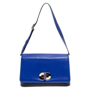 Bvlgari Blue/Black Leather Icona Shoulder Bag