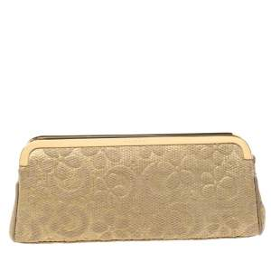 Bvlgari Metallic Gold Floral Embossed Straw Clutch