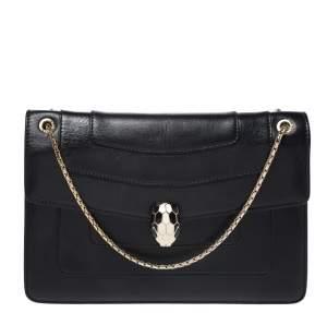 Bvlgari Black Leather Medium Serpenti Forever Flap Shoulder Bag