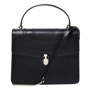 Bvlgari Black Leather Serpenti Forever Flap Bag