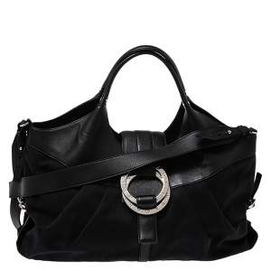 Bvlgari Black Canvas and Leather Chandra Hobo