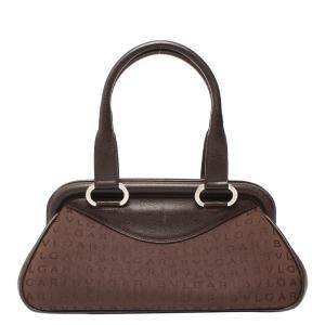 Bvlgari Brown Monogram Canvas and Leather Satchel