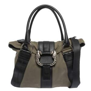 Bvlgari Black/Pale Green Fabric and Leather Leoni Shoulder Bag