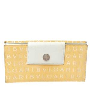 Bvlgari Cream/White Logo Mania Canvas and Leather Flap Continental Wallet