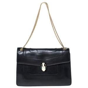 Bvlgari Black Leather Medium Serpenti Forever Flap Shoulder Bag