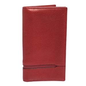 Bvlgari Red Grained Leather Bifold Continental Wallet