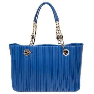 Bvlgari Royal Blue Leather Monte Plisse Shopper Tote