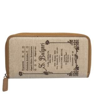 Bvlgari Beige/Brown Printed Coated Canvas Zip Around Wallet