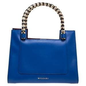 Bvlgari Blue Leather Small Serpenti Scaglie Tote