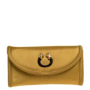 Bvlgari Gold Satin Leoni Flap Clutch