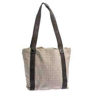 Bvlgari Beige/Brown Logo Mania Canvas and Leather Tote