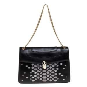 Bvlgari Black/Silver Leather Serpenti Forever Shoulder Bag