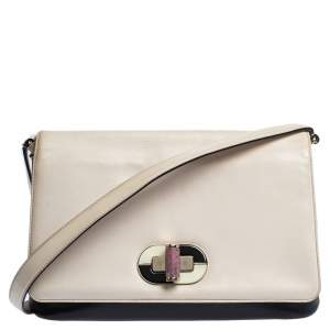 Bvlgari Beige/Black Leather Icona Shoulder Bag