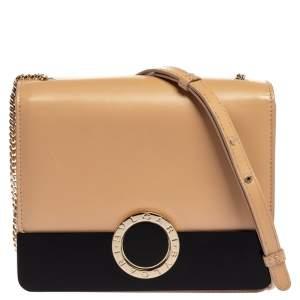 Bvlgari Beige Leather Flap Chain Crossbody Bag