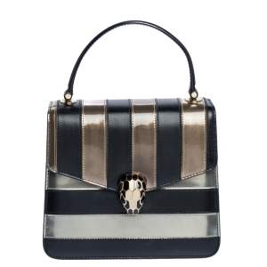 Bvlgari Tri Color Leather and Patent Leather Serpenti Forever Flap Top Handle Bag