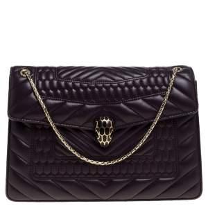 Bvlgari Purple Quilted Scaglie Leather Medium Serpenti Forever Shoulder Bag