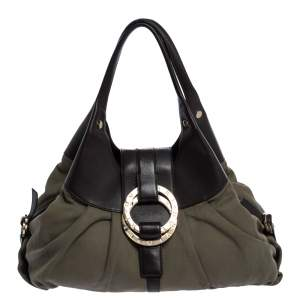 Bvlgari Olive Green/Brown Canvas and Leather Chandra Hobo