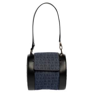 Bvlgari Blue/Black Denim and Leather Cylinder Bag