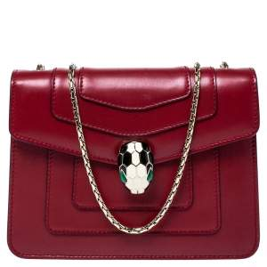 Bvlgari Red Leather Small Serpenti Forever Shoulder Bag