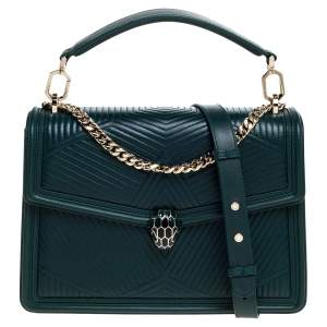 Bvlgari Green Diamond Blast Leather Large Serpenti Forever Shoulder Bag